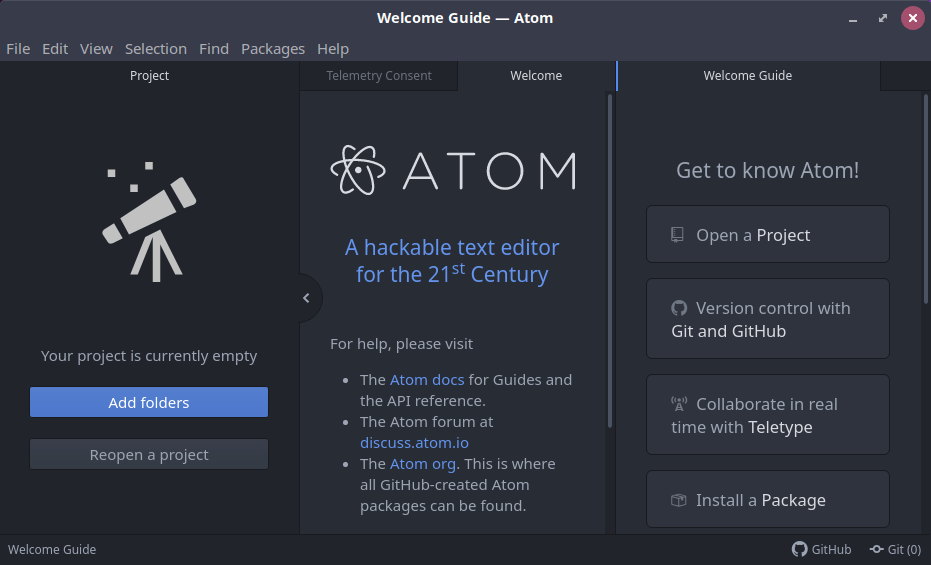 Screenshot that shows what the Atom editor looks like, when you run it for the first time.