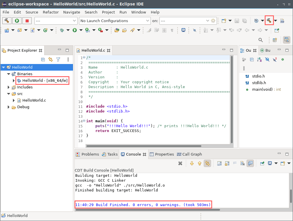 Screenshot of the Eclipse CDT program in action, once you installed it on your Linux system.