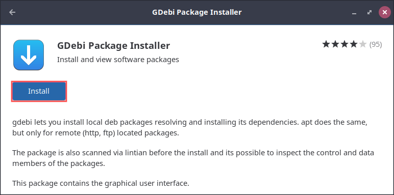 Screenshot that shows how to install the GDebi program using the Gnome Software application.