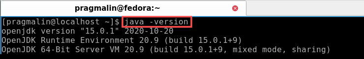 """Terminal screenshot that show the output of command """"java -version"""". You can run this command to determine if Java is currently installed on your Linux system."""