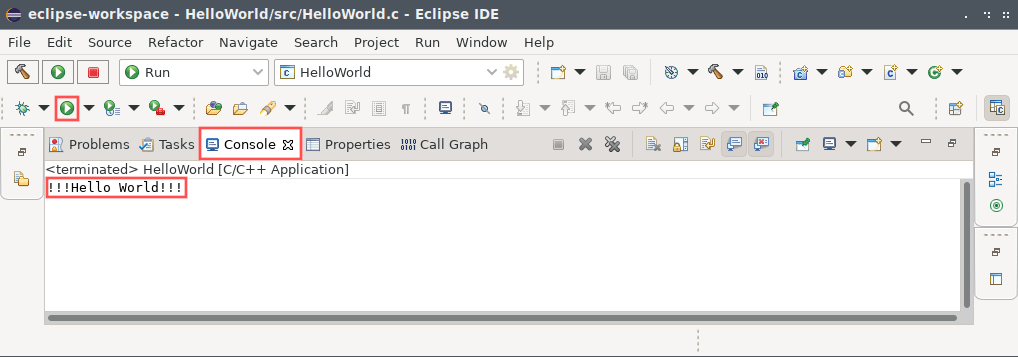 Eclipse CDT screenshot that shows which toolbar button to press to run the program. It also highlights the console window, where Eclipse CDT write program output to.