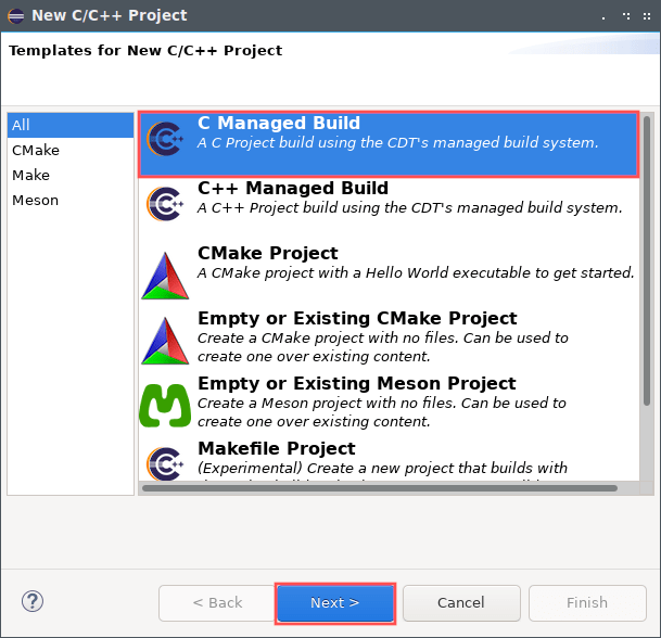 """Screenshot of the Eclipse new project creation wizard. It shows the first screen where you select a project template. In this case I selected """"C Managed Build"""" as the template."""