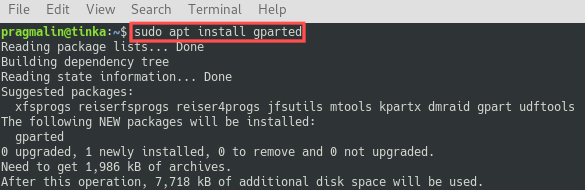 Terminal screenshot that shows you how to install GParted on Debian and Ubuntu.