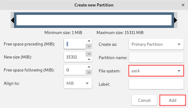 GParted new partition dialog that shows you which options to configure for the new partition. We're creating one large partition with the EXT4 file system.