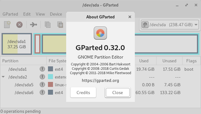 Screenshot of the GParted program.