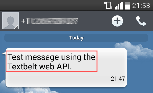 Phone screenshot that shows that the SMS message that the Python test program sent, was successfully received.