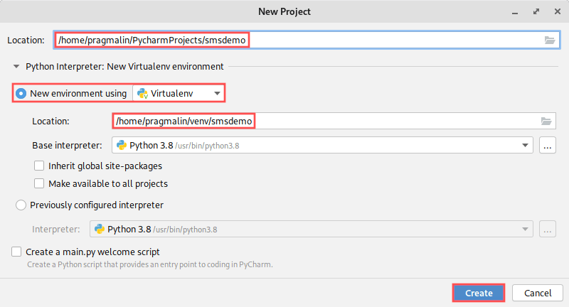 Screenshot of PyCharm's new project dialog. It shows how to create a new project called smsdemo, including the creation of a virtual environment.