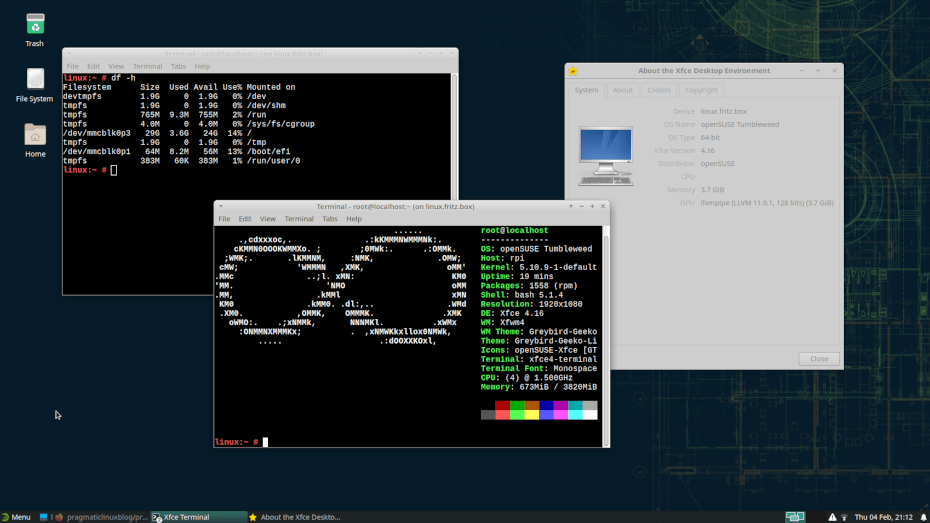 Screenshot of the XFCE desktop environment on openSUSE Tumbleweed.
