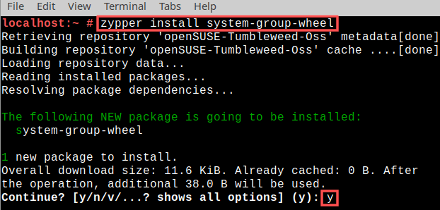 Terminal screenshot that shows how to install package system-group-wheel with zypper. This creates the wheel group on openSUSE Tumbleweed.
