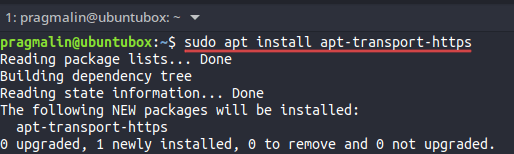Terminal screenshot that shows how to install the apt-transport-https package. It is needed for installing the .NET SDK on  a Debian or Ubuntu based Linux system.