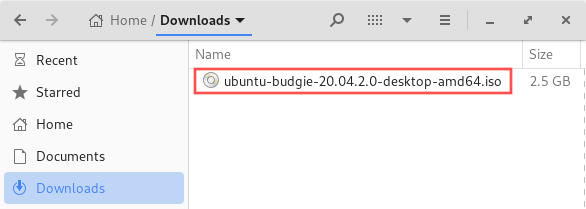 File manager screenshot that shows the Ubuntu Budgie ISO image file. In this article we'll create a bootable USB drive from the Linux ISO image.