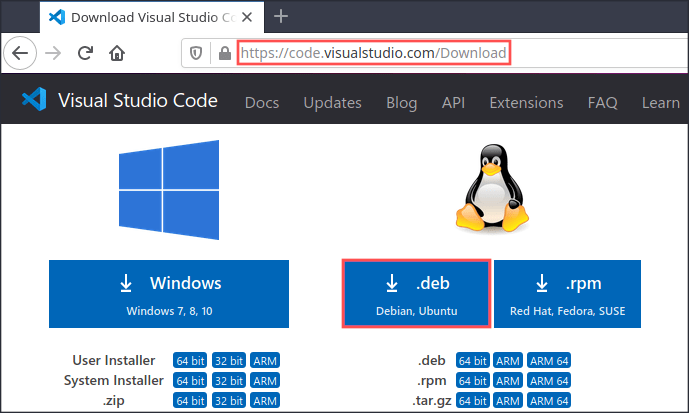 Web browser screenshot that explains how and where to download the Visual Studio Code DEB package for Debian and Ubuntu.