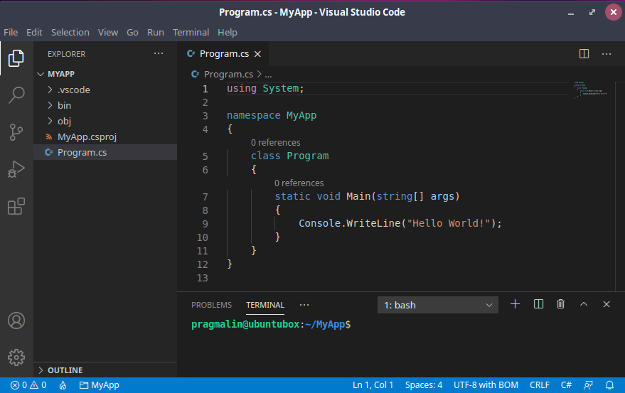 Screenshot of Visual Studio Code on Linux with the newly created C# console application project opened.