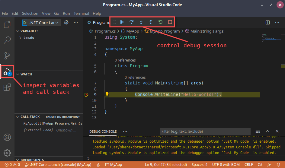 Screenshot of debugging a C# console application in Visual Studio Code on Linux. It highlights the debugging specific user interface elements.