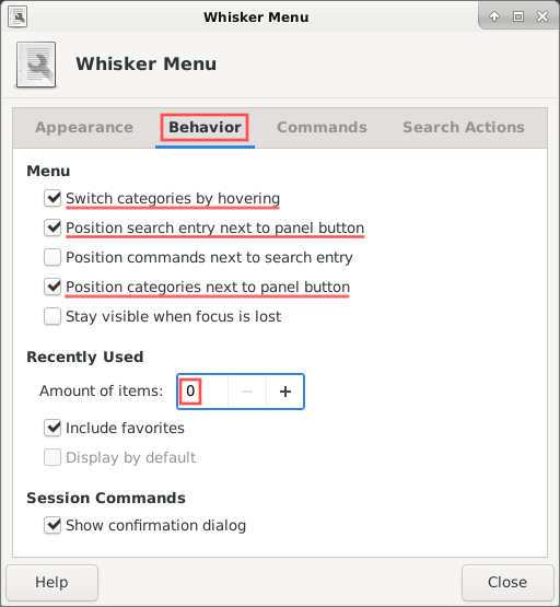 Screenshot of the Whisker menu settings how I personally prefer them. These settings are of course subjective. Feel free to play around with these until you found your preferred settings.