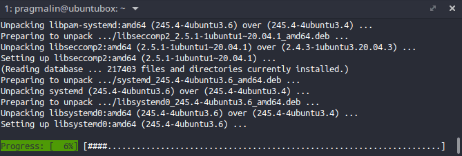 """Terminal screenshot that shows the """"sudo apt upgrade"""" command in action. Including the nice progress bar at the bottom, which sets apt apart from apt-get."""