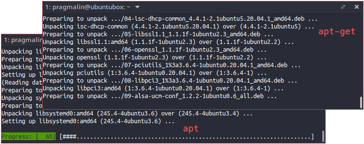 Comparison of apt versus apt-get when upgrading software packages in Ubuntu. If shows that apt is the more user-friendly program.