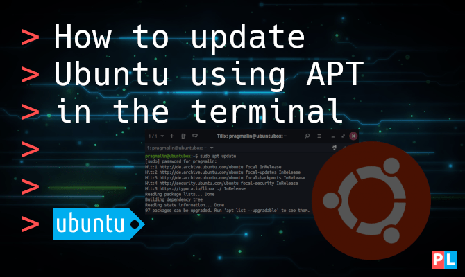 Feature image for the article about how to update Ubuntu using APT in the terminal