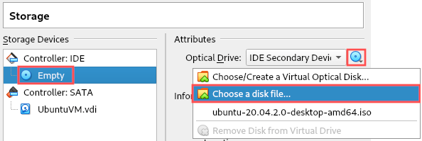 VirtualBox screenshot that illustrates how to attach the downloaded Ubuntu ISO image to the virtual machine's virtual DVD drive.