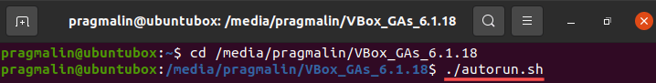 Terminal screenshot that explains how to manually start the install process for the VirtualBox guest additions in the Ubuntu virtual machine.