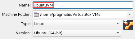 Screenshot that shows how to set the name and operating system type for the VirtualBox virtual machine, in which we plan to install Ubuntu.