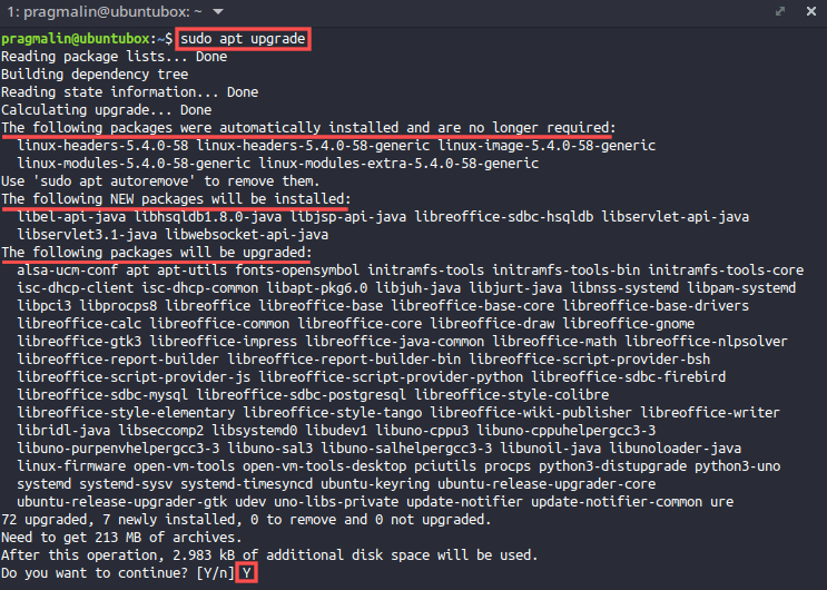 """Terminal screenshot that shows the command output of """"sudo apt upgrade"""". This is step two in the sequence for how to update your Ubuntu system in the terminal."""
