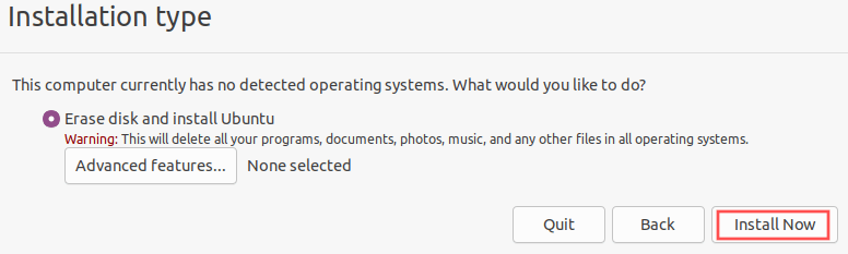 Ubuntu installer screenshot that shows you the recommended partitioning option to select.
