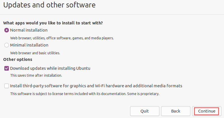 Ubuntu installer screenshot that shows you the recommended software installation options.