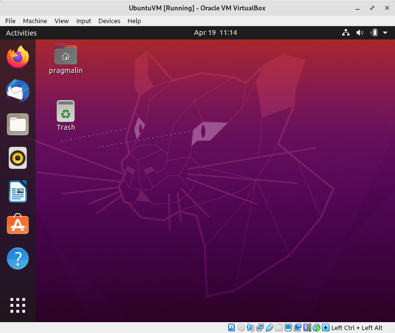 Screenshot of what the Ubuntu desktop looks like after you completed the steps in this article about how to install Ubuntu in VirtualBox.