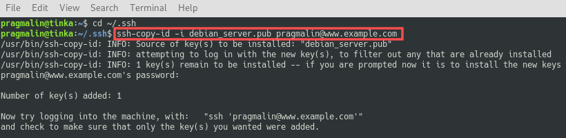 Terminal screenshot that shows you how to copy the public SSH key file to your Linux server. It used the ssh-copy-id command. Afterwards, the public SSH key file is added to the authorizedkeys file on the server.