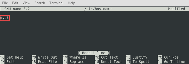Screenshot of editing /etc/hostname with Nano for changing the hostname of your Raspberry PI.