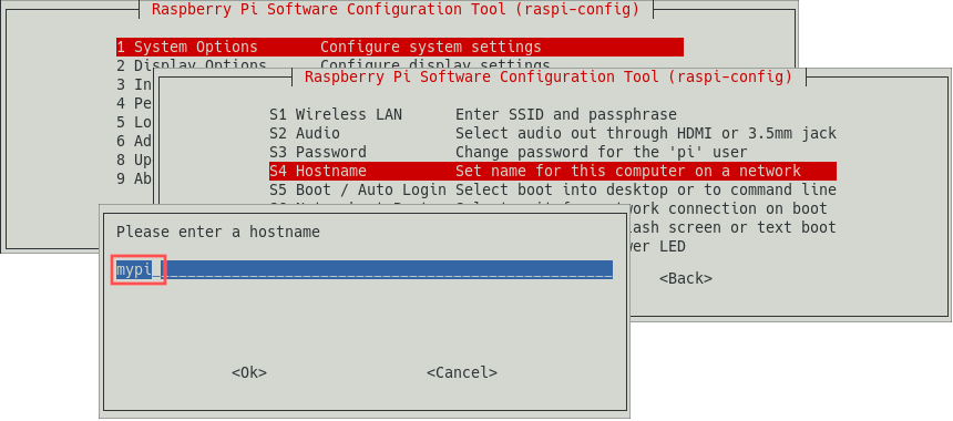 Raspi-config screenshot that explains where you can change the hostname for your Raspberry PI.
