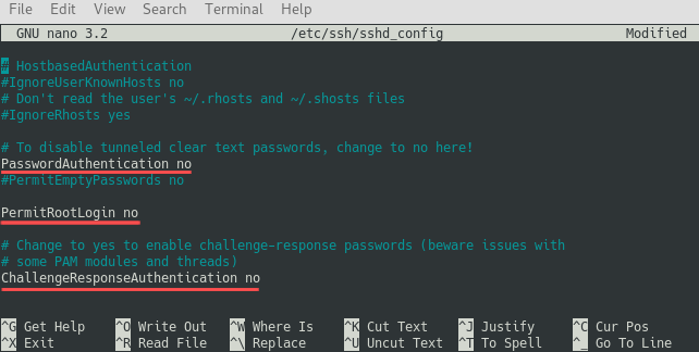 Editing the /etc/ssh/sshd_config file with Nano to no longer permit the root user from login in and to disable password logins altogether.