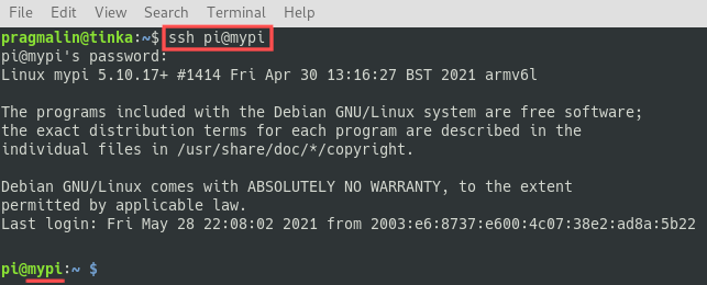 Terminal screenshot that show you how to verify that the changed hostname is correct on your Linux system.