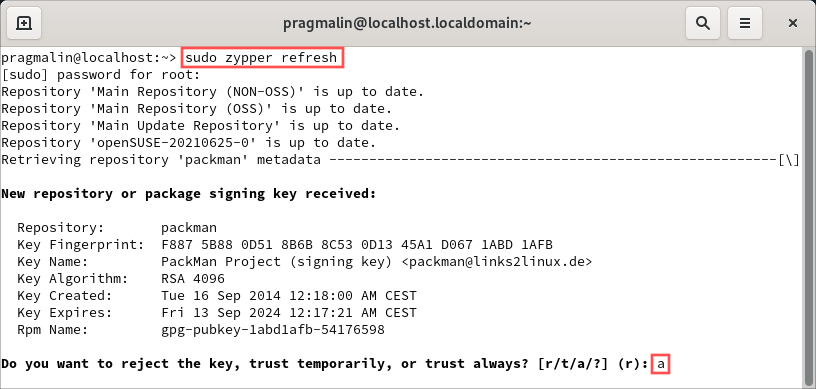 Terminal screenshot that shows how to refresh the package repositories after adding the Packman repository for openSUSE Tumbleweed. It also highlights how to accept the repository's signing key.