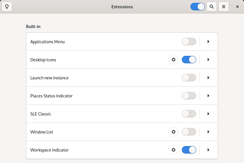 Screenshot of the GNOME Extensions application, which replaces a part of the GNOME Tweaks program starting with the GNOME 40 desktop environment.