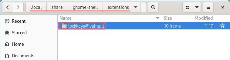 Nautilus file manager screenshot that shows where you should move the Gnome Extension directory to.