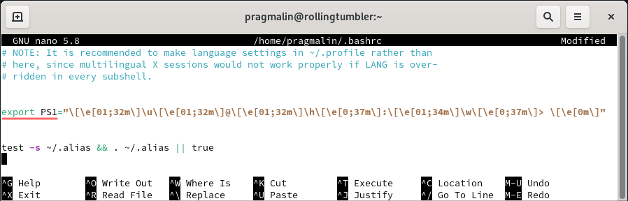 Adding some color to the Bash prompt is the fourth thing to do after installing openSUSE Tumbleweed. This screenshot shows how to add the PS1 variable to the .bashrc file for coloring the primary prompt string.