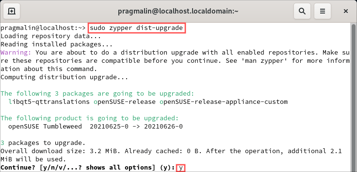 """Updating the software packages on the system is the first thing to do after installing openSUSE Tumbleweed. This terminal screenshot shows how to do this with the help of command """"sudo zypper dist-upgrade""""."""