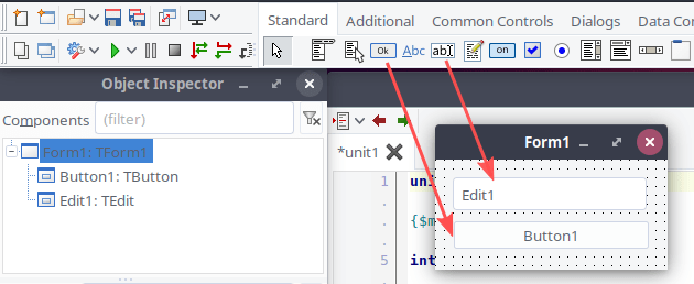 """Screenshot explaining how to add components to Form1, to create the user interface of the """"Hello World!"""" example GUI application."""