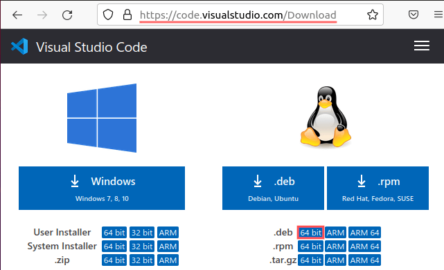 Web browser screenshot showing you where and how to download the DEB package of Visual Studio Code for your 64-bit Linux system.