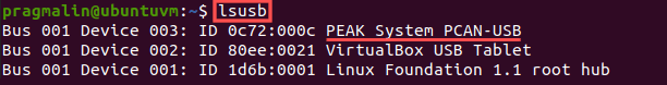 Screenshot showing the output of the lsusb command to check if the Linux system properly detected the USB-to-CAN adapter, after pluggin it in.