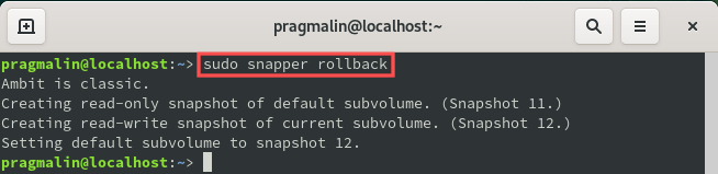 """Terminal screenshot that shows the output of command """"sudo snapper rollback"""". It's the command to use on openSUSE to rollback to the read-only snapshot that you just booted."""