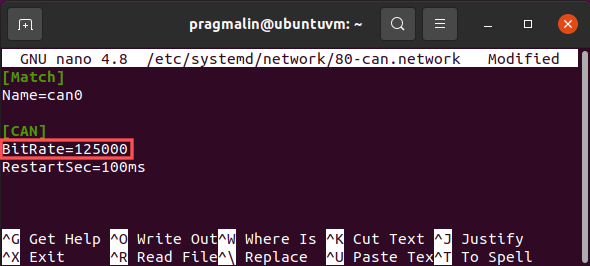 Screenshot of editing the SocketCAN related systemd-networkd configuration file to change the CAN communication bitrate speed (a.k.a. baudrate) to 125k.