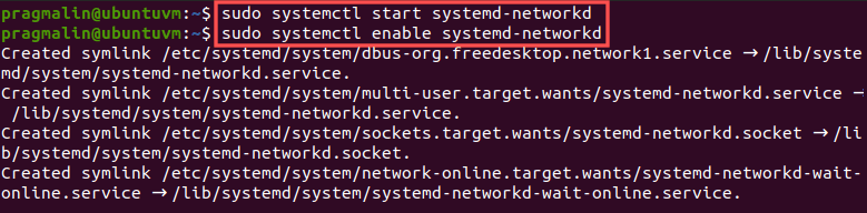 Terminal screenshot that shows how to start and enable the systemd-networkd service. The systemd-networkd service will be used later on to automatically configure and bring up a SocketCAN network interface.