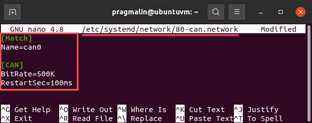 """Editing a systemd-networkd configuration file in """"/etc/systemd/network"""" for automatically configuring and bringing up a SocketCAN network interface when you boot up your Linux system or when you plug in your USB-to-CAN adapter, such as the Peak PCAN-USB or Kvaser Leaf Light."""