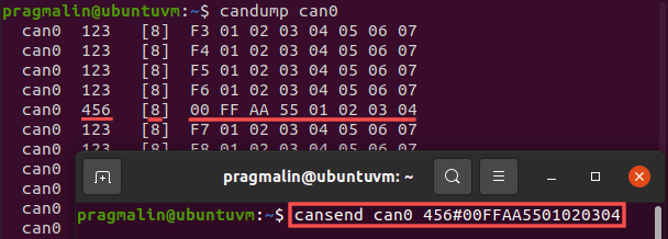 Screenshot of running the cansend program to transmit a CAN message on the CAN bus.