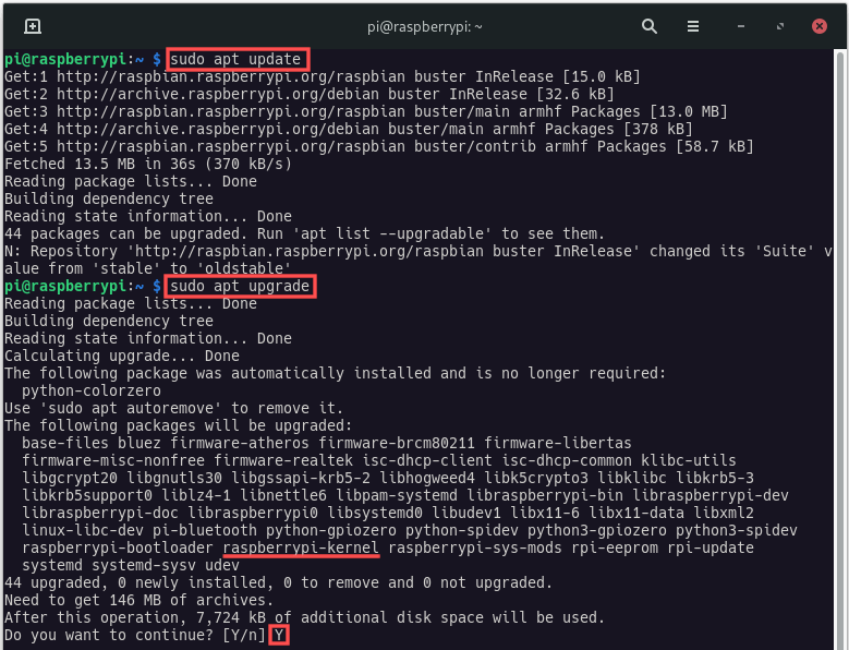 Terminal screenshot that shows you how to update your Raspberry PI system remotely via SSH.