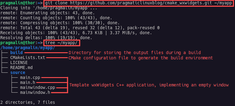 Terminal screenshot that shows you how to clone the wxWidgets C++ template project from GitHub, which will help you getting started with wxWidgets on Linux.