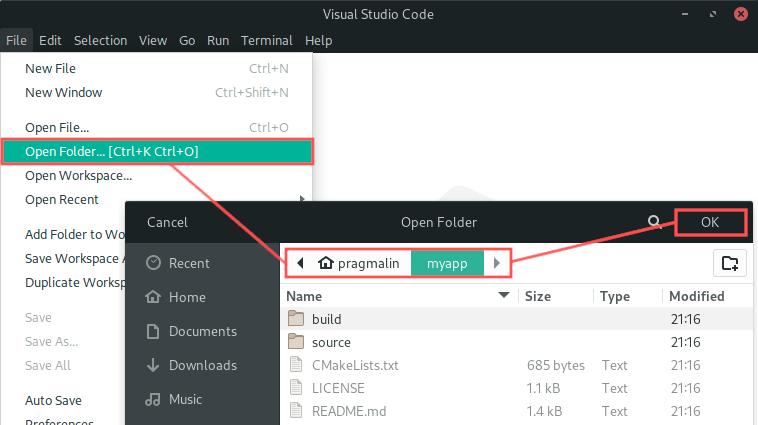 Visual Studio Code screenshot that shows you how to import the wxWidgets template project.